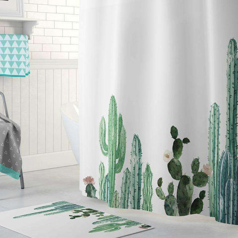 Cactus Decor Cactus Print Shower Curtains