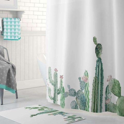 Image of Cactus Decor Cactus Print Shower Curtains