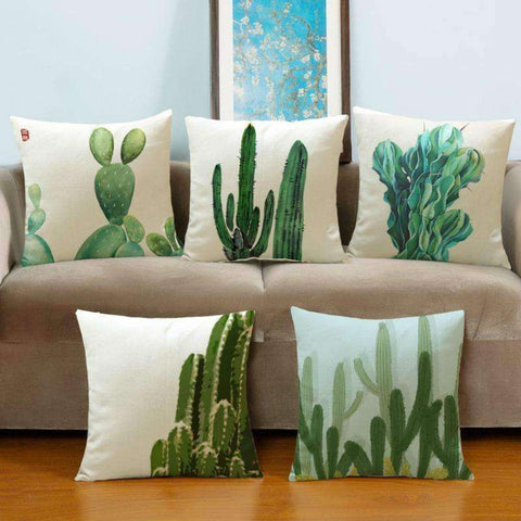 Green Cactus Pillow Covers