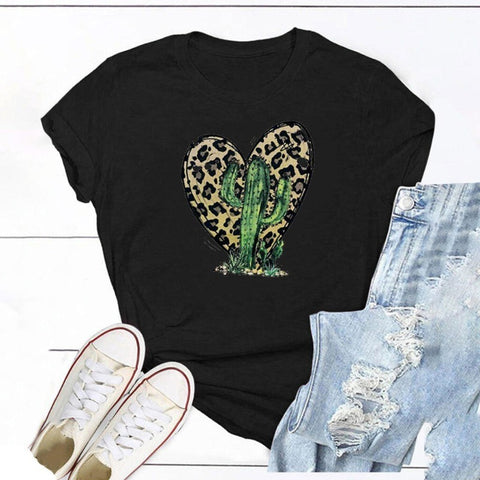 Leopard and Cactus T Shirt