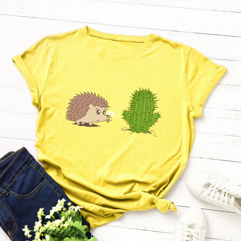 Image of Hedgehog & Cactus Print T Shirt