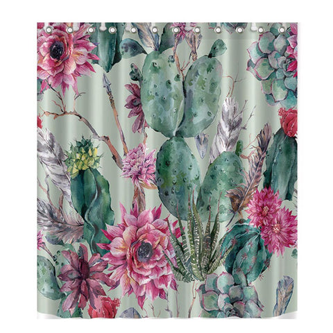 Image of Colorful Cactus Print Shower Curtain