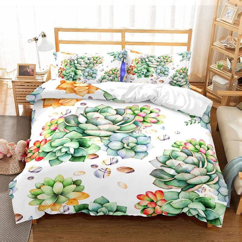 Casual Succulent Print Bedding Set