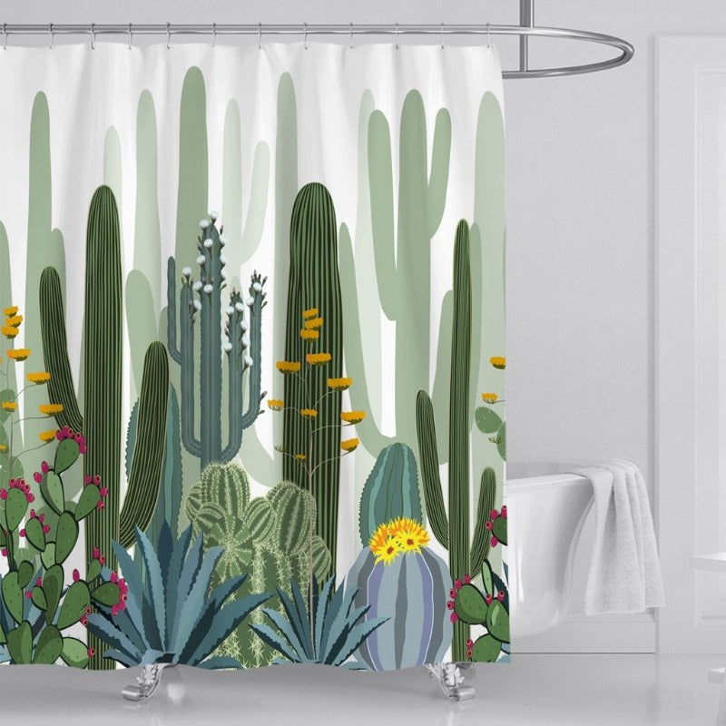 Casual Cactus Print Shower Curtain