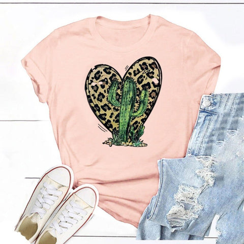 Image of Leopard and Cactus T Shirt