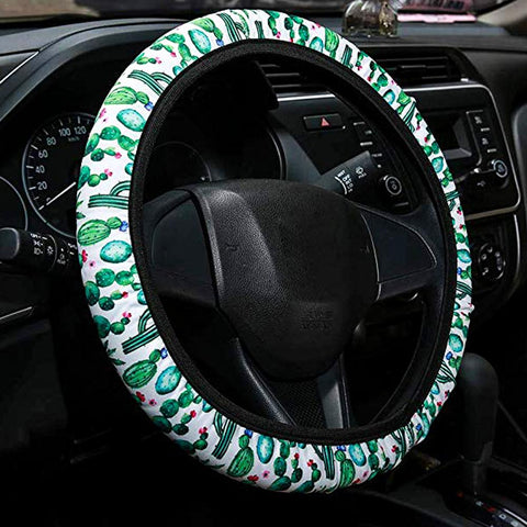 Image of Cactus Print Steering Wheel Cover