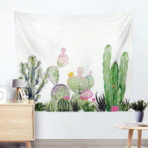 Watercolor Cactus Wall Tapestry succulent cactus tapestry cactus wall decor