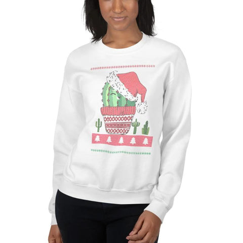 Jolly Cactus Print Christmas Sweat Shirt