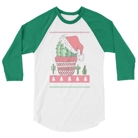 Holly Jolly Cactus Print 3/4 Sleeve Christmas Shirt