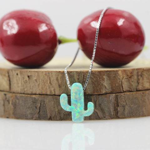 Image of 🌵Opal Cactus Pendant Necklace