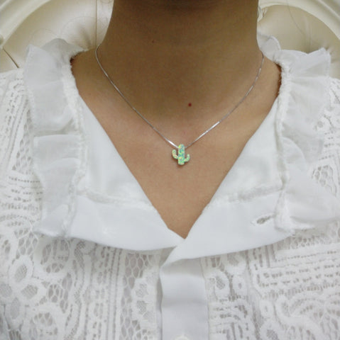 Opal cactus charm necklace succulent jewelry