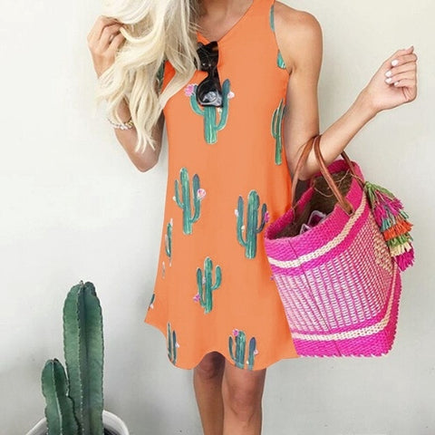 Image of Sleeveless Casual Cactus Summer Dress