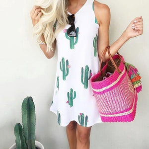 Sleeveless Casual Cactus Print Summer Dress