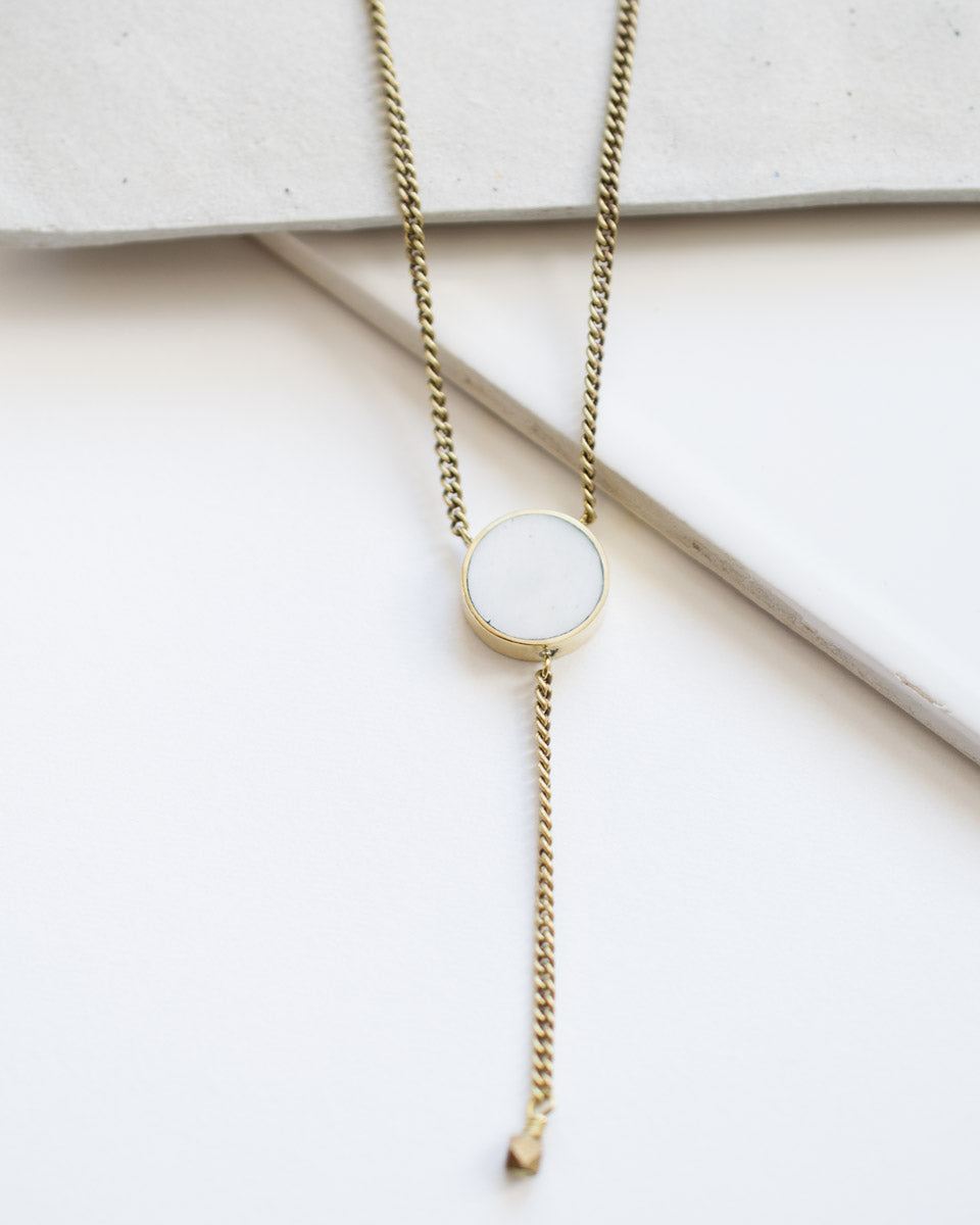 brass and bone pendant lariat necklace fair trade