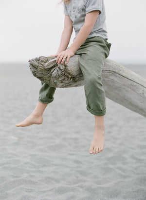 childrens linen foraging nature ocean pants green pockets fair trade
