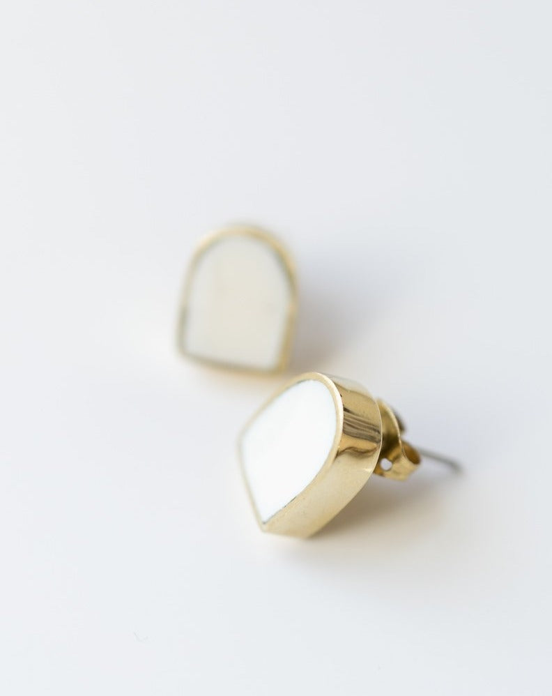 post earrings fair trade in bone and brass