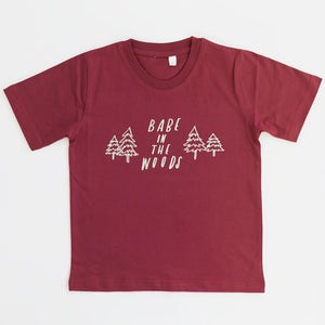 fair trade organic cotton childrens red tee babe in the woods