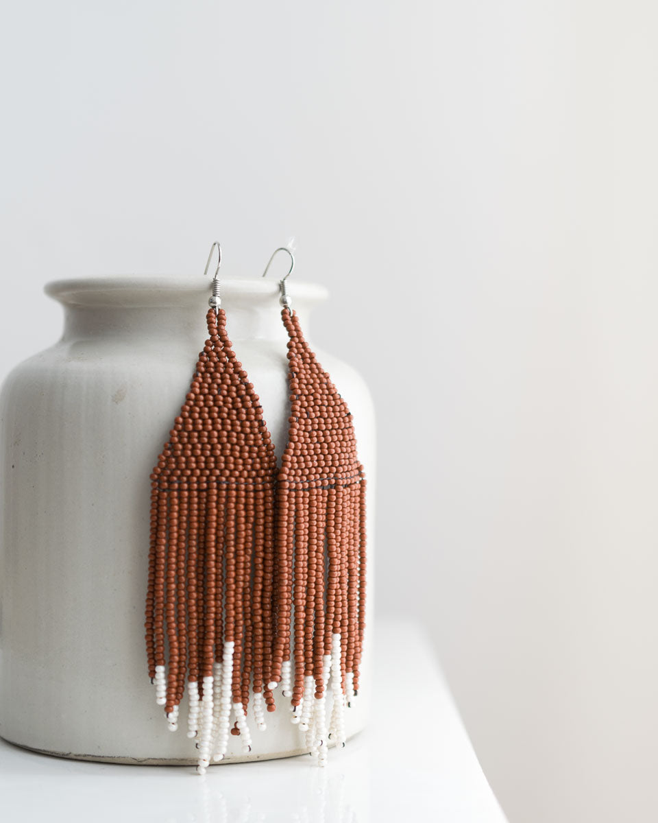 fair traded woven bead fringe earrings cinnamon