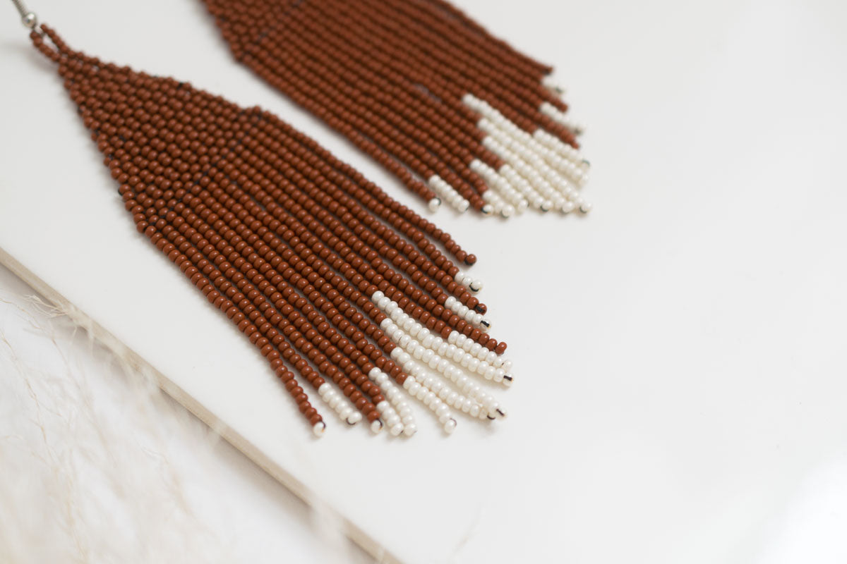 fair traded woven bead fringe earrings