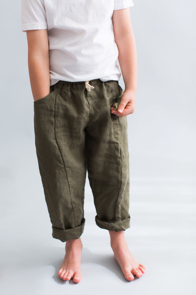 kids linen pants pockets green