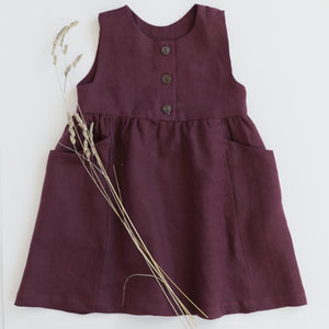 childrens linen dress pockets red