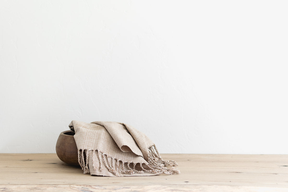 woven hand towel with fringe