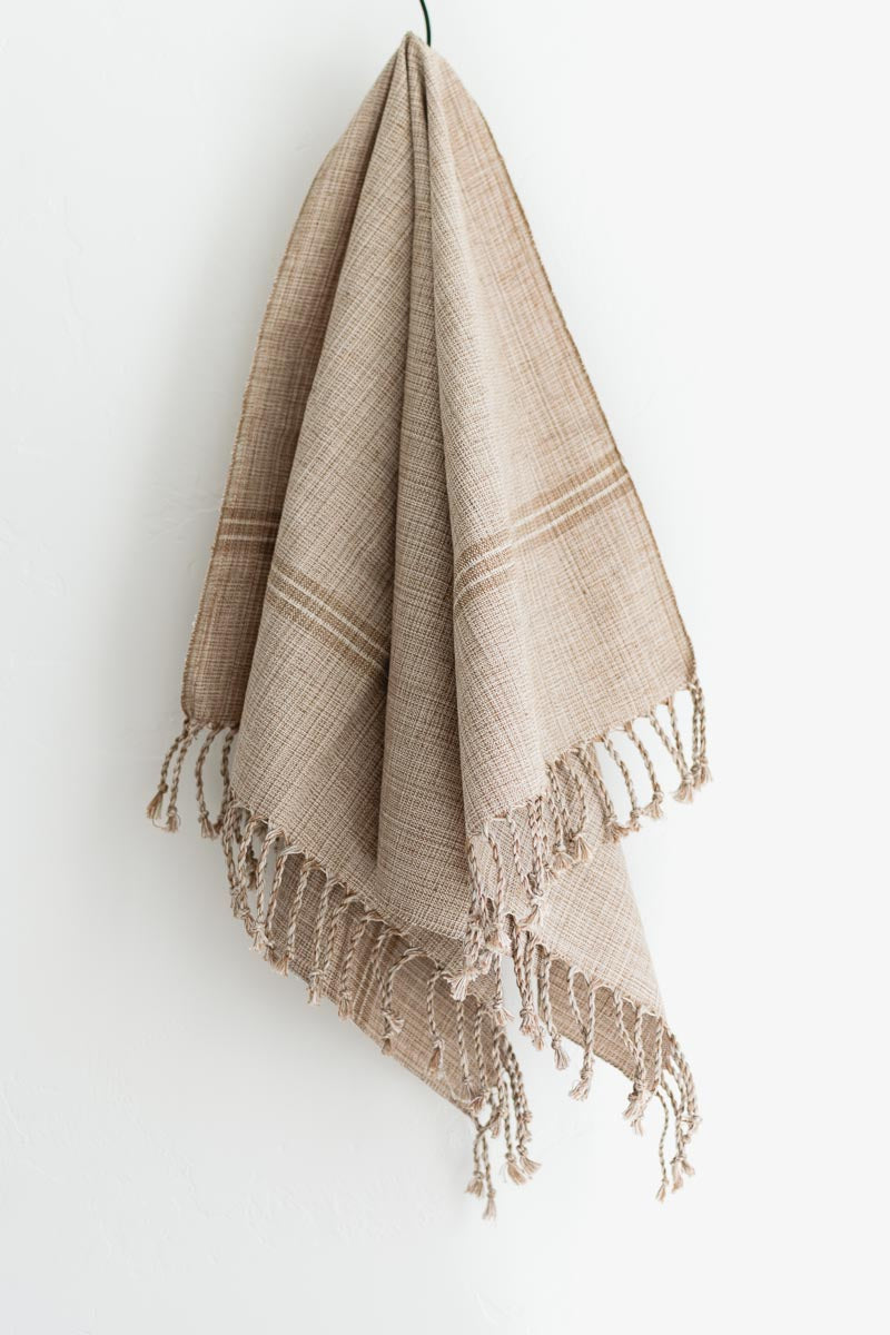 hand woven large towel neutral