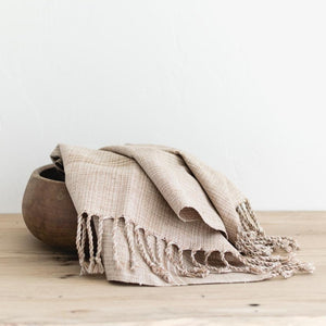 woven hand towel in tan fair trade