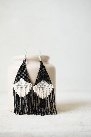 Beaded fringe earrings in contrast