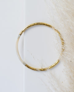 hammered brass and bone bangle bracelet