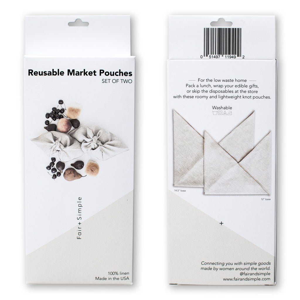 WHOLESALE Reusable Market Pouches | Set of Two | Retail Ready