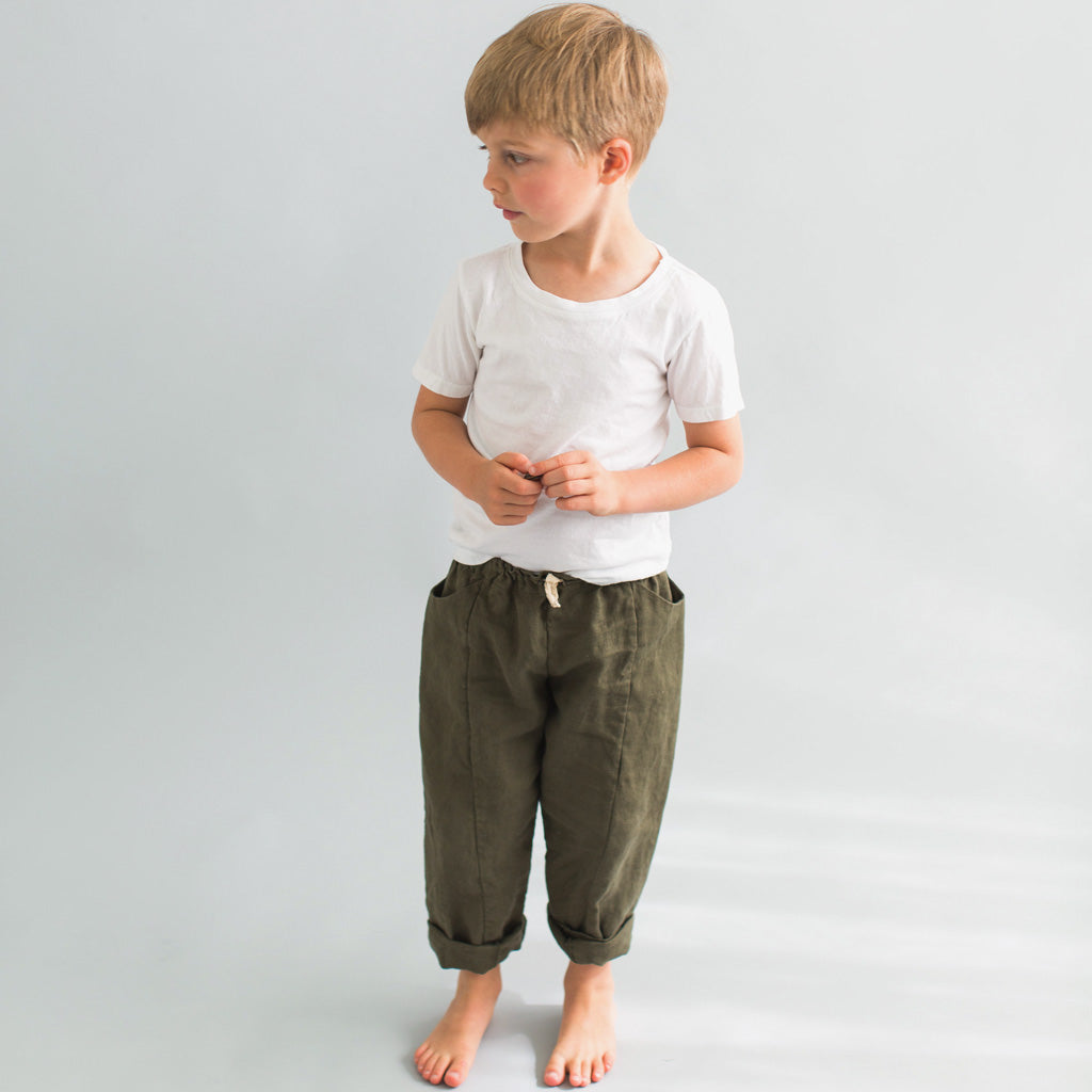 children's linen pants green pockets fair trade