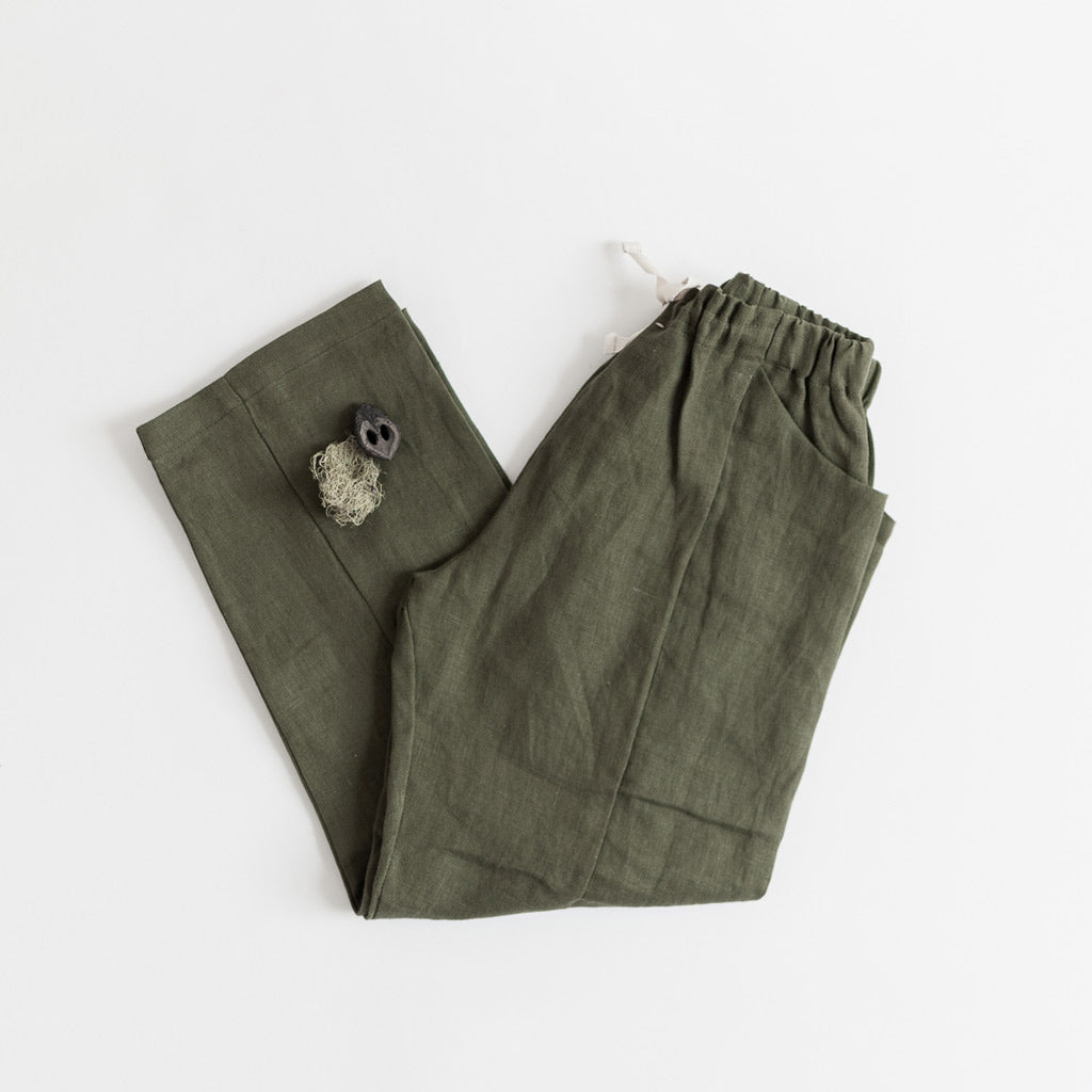 kids linen pants green pockets fair trade