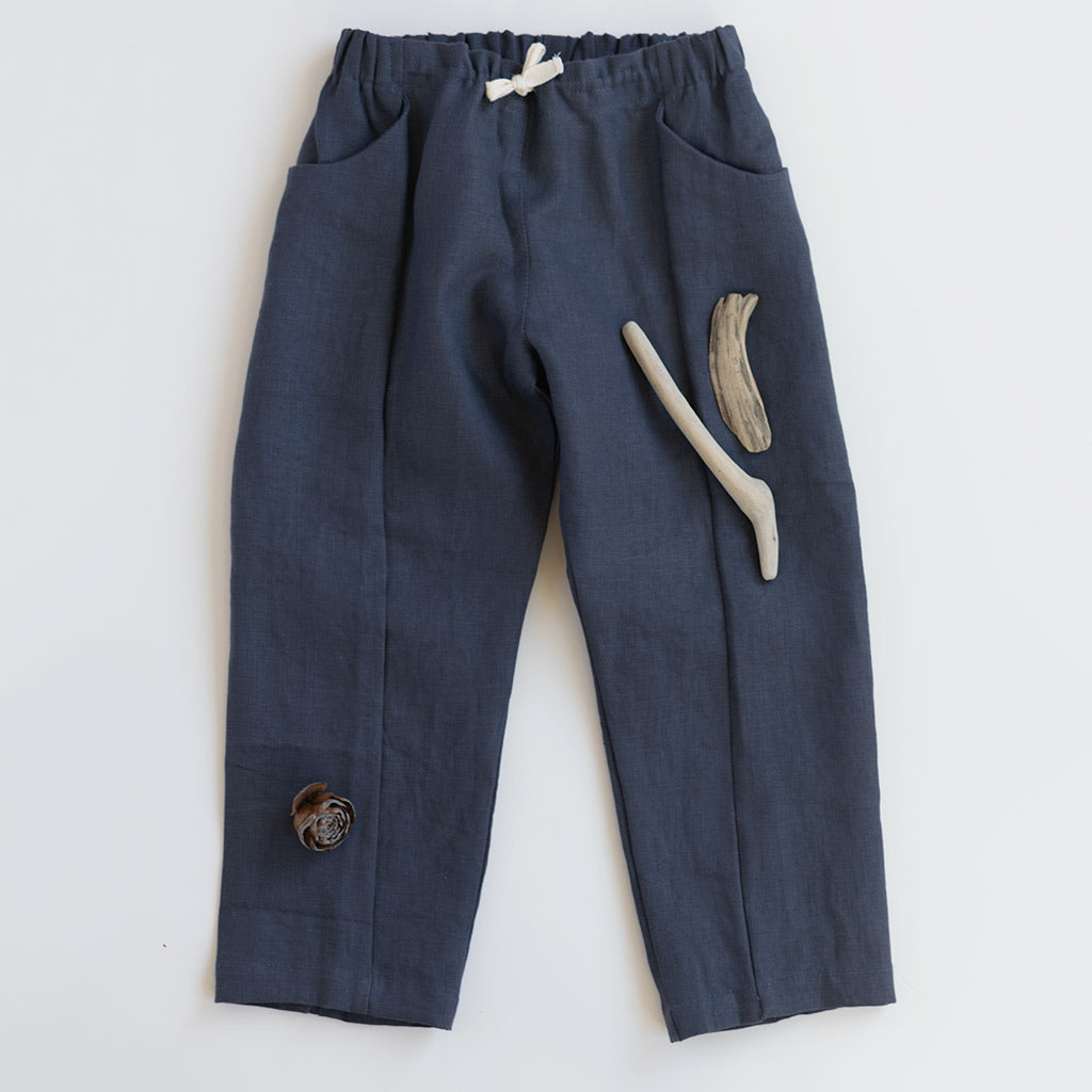 children's linen pants in blue