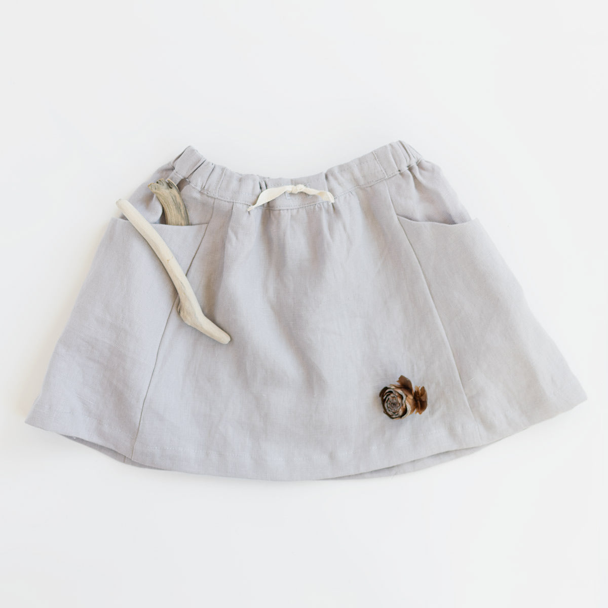 children's linen skirt pockets grey fair trade