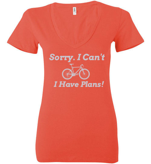 """Sorry, I Can't. I Have Plans!"" Ladies Cycling T-Shirt"