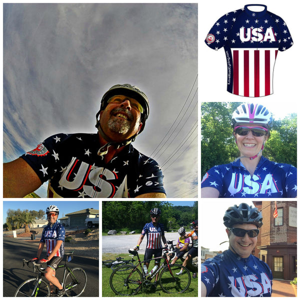 I Love Road Cycling USA Patriotic Short Sleeve Cycling Jersey
