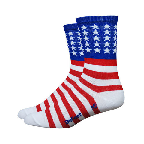 "DeFeet Aireator 5"" USA Red/White/Blue Cycling Socks"