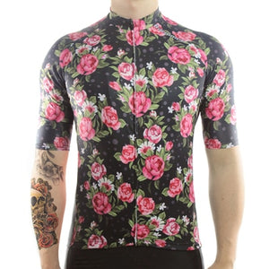 Racmmer Roses Short Sleeve Cycling Jersey