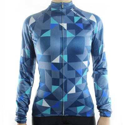 Womens Racmmer Triangles Thermal Fleece Long Sleeve Cycling Jersey