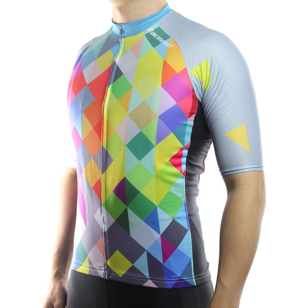 Racmmer Rainbow Diamonds Short Sleeve Cycling Jersey