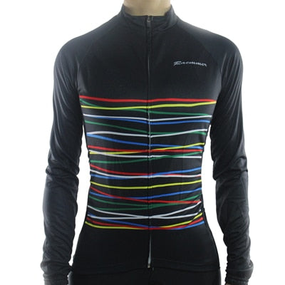 Womens Racmmer Stripes Thermal Fleece Long Sleeve Cycling Jersey