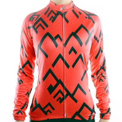 Womens Racmmer Mountains Thermal Fleece Long Sleeve Cycling Jersey