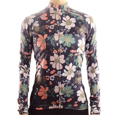 Womens Racmmer Floral Thermal Fleece Long Sleeve Cycling Jersey