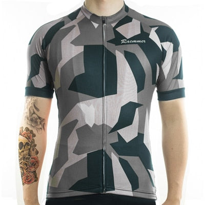 Racmmer Geometric Camo Short Sleeve Cycling Jersey