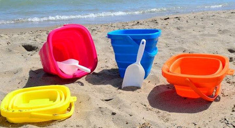 4 Pack Pail Bundle (Pink, Blue, Yellow, and Orange) - Packable Pails, LLC  - 2