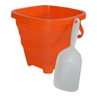 Packable Pails - Starfish Orange Pail with White Shovel - Packable Pails, LLC  - 1