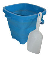 Packable Pails - Aquatic Aqua Blue Pail with White Shovel - Packable Pails, LLC  - 1