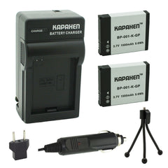 Kapaxen™ Two AHDBT-001 Batteries and Charger Kit with Bonus Mini Tripod for GoPro HD HERO, HERO2 Cameras