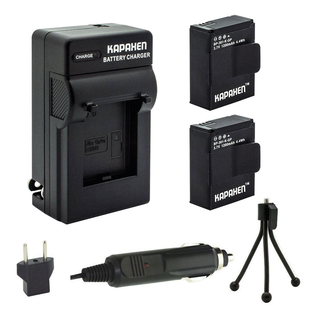 Kapaxen™ Two AHDBT-301 Batteries, Charger & Bonus Mini-Tripod for Gopro HD Hero3 and Hero3+ Cameras